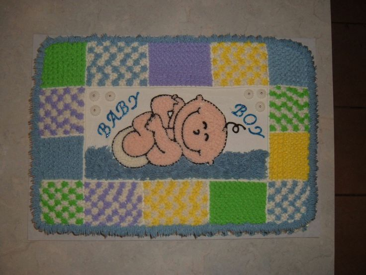 Baby Boy Cake 12X18 sheet, all BC. Quilt like blanket