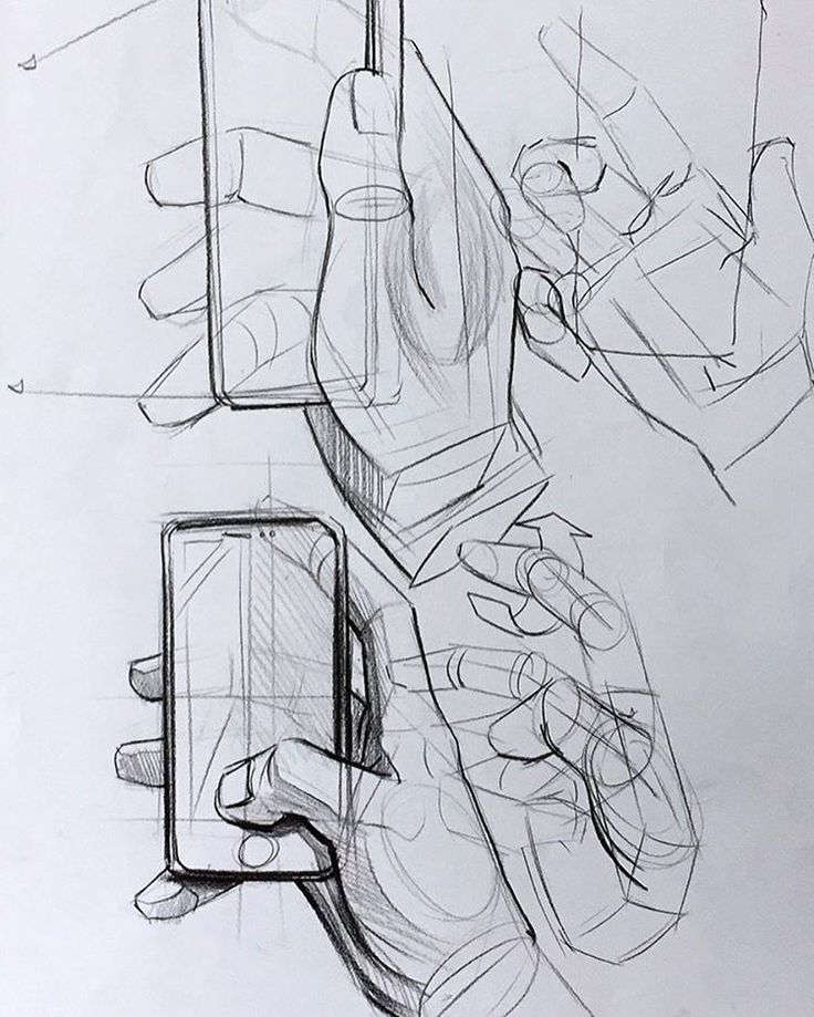 Telefon tutan el çizimi