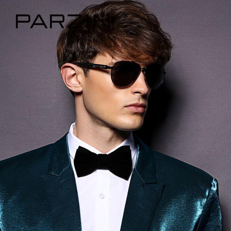 PARZIN Brand Quality Men's Aviator Sunglasses Alloy Frame Pilot Real Polarized Sun Glasses For Driving Male Metal Glasses 8032