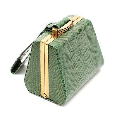 Green snakeskin Art Deco evening bag designer unknown execution ca.1930