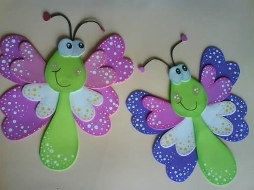 Decoraciones con mariposas de goma eva - Imagui