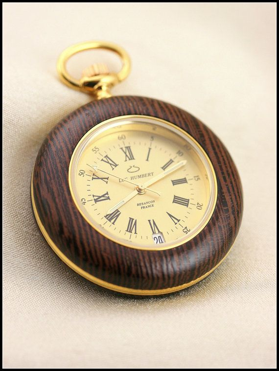 Wooden watch, Wood watch, Pocket watch, Pocket watches for men, Wood watch men, Brown watch wood, mens watch wood, Swiss quartz, Swiss watch