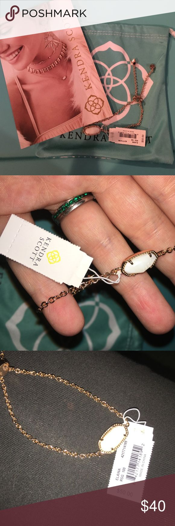 KENDRA SCOTT ELAINA BRACELET NWT Rose Gold/White Pearl Kendra Scott bracelet with a full sliding closure. Never been worn. I will also include a coupon for 20% off a future purchase if purchased before 12/15/2016 (expiration date on coupon) It also comes with the original dust bag. 💗💗 Kendra Scott Jewelry Bracelets