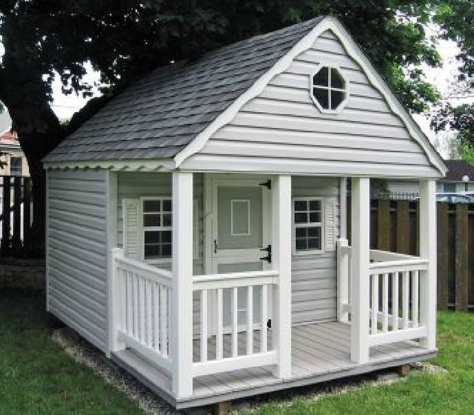 Simple playhouse. Could make the loft above the porch with stairs going down to the right. I would add a few more windows.