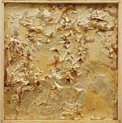 Untitled  Robert Rauschenberg (American, 1925-2008)  c. 1952. Gold leaf on canvas, in wood-and-glass frame