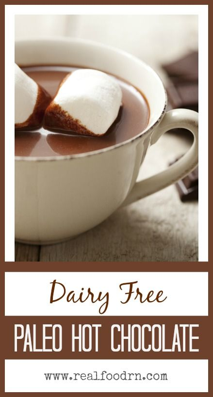 Dairy-free Hot Chocolate. Enjoy all the warm, comforting goodness of homemade hot chocolate -- but without the dairy.  realfoodrn.com #paleo #hotchocolate