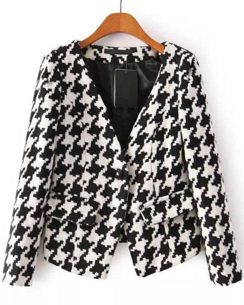Black White Long Sleeve Plaid Button Coat 13.50