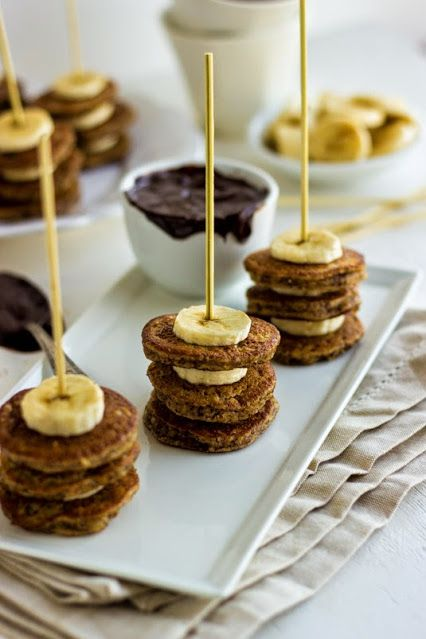Hazelnut and Banana Mini Pancake Skewers with Chocolate Sauce