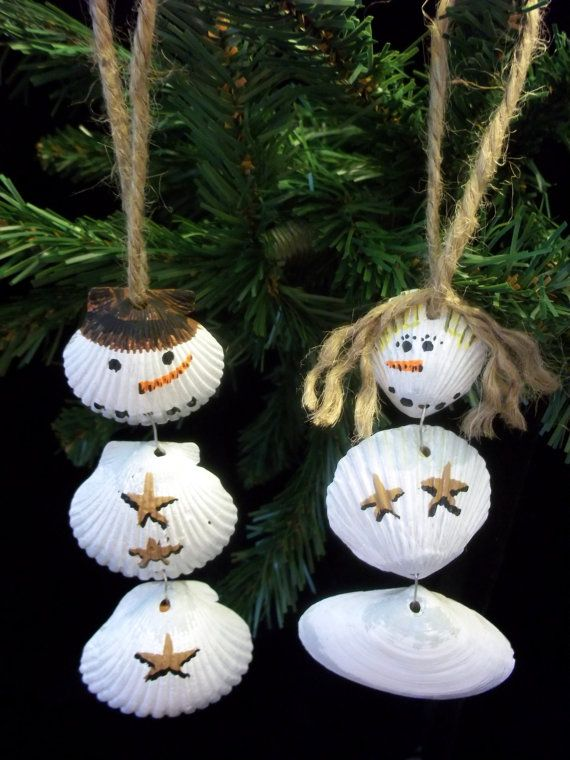 SNOWMAN ORNAMENT  Set  His and Her Shellman for by CustomSandArt