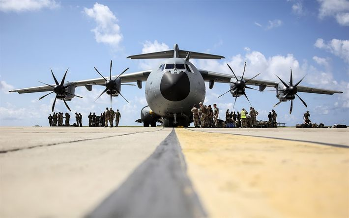 Download wallpapers Lockheed C-130 Hercules, military transport aircraft, American aircraft, paratroopers, NATO, US, US Air Force
