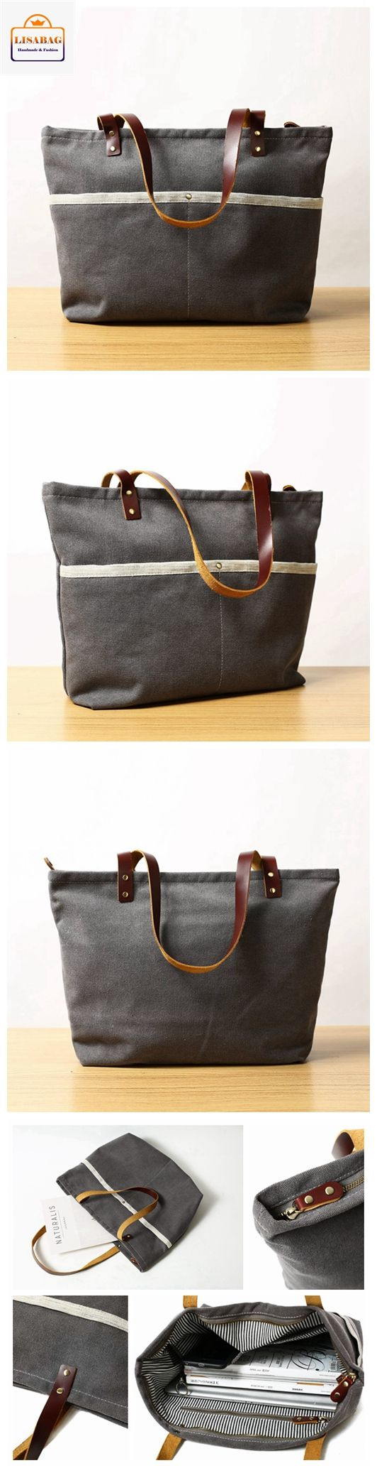 Handcrafted Grey Canvas Tote Bag Shopper Bag Diaper Bag Shoulder Bag Handbag 14022
