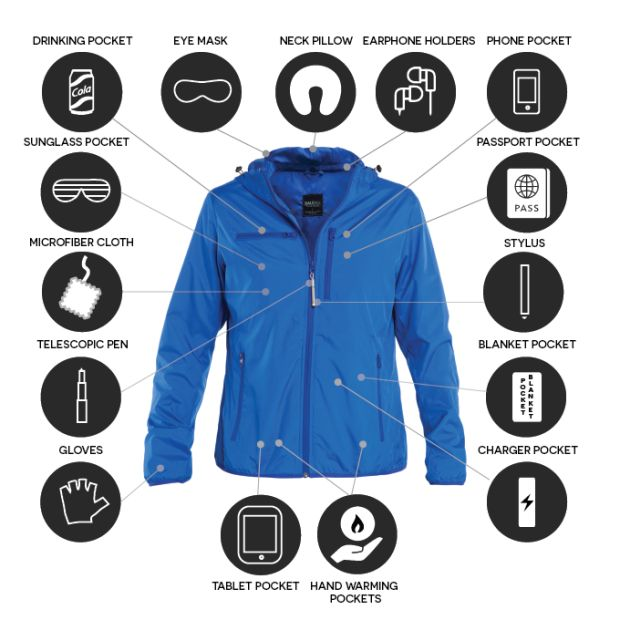 TRAVEL JACKET with Neck Pillow, Eye Mask, Gloves, Drink Pocket, Tech Pockets, etc. Comes in 4 Styles | Crowdfunding is a democratic way to support the fundraising needs of your community. Make a contribution today!