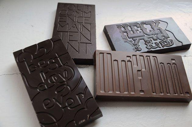 .: Business Cards, Wedding Favors, Typographic Chocolates, Food, Graphics Design, Chocolates Bar, Good, Chocolates Typography, Typographic Design