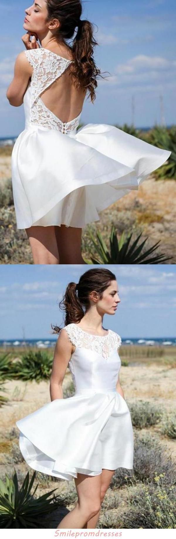 A Line Round Neck Open Back Short Beach Wedding Dress With Lace Pockets Sme15018 Short Wedding Dress Beach Backless Wedding Dress Lace Sweetheart Wedding Dress [ 1837 x 600 Pixel ]