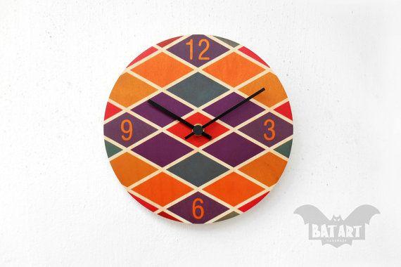 BAT Wall Clock 20cm color rhombus pattern  Black metal by BatLab