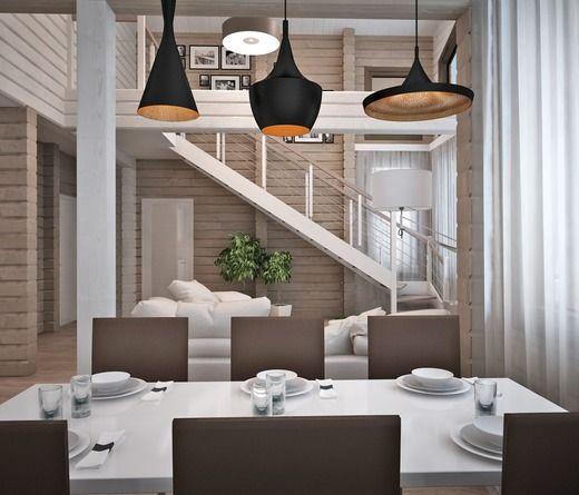 КУхня-гостиная в двухэтажном в доме из бруса. Казахстан. Кухня
