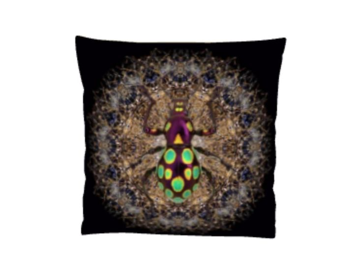 Spirograph insect cushion (Black)