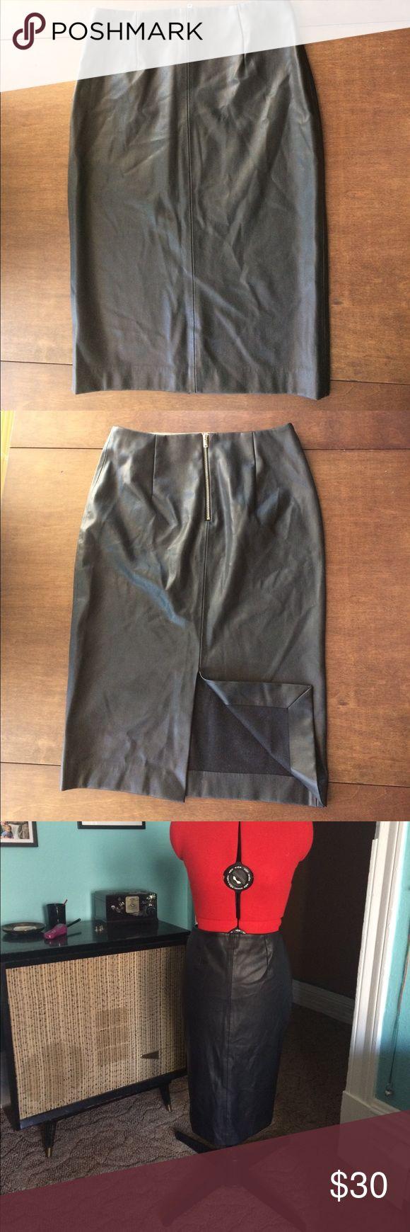 "⚫️Zara Faux Leather pencil Skirt Faux Leather Pencil Skirt, soft and leather has stretch. Waist 14"" Hips 18"" Length 24"" Zara Skirts Pencil"