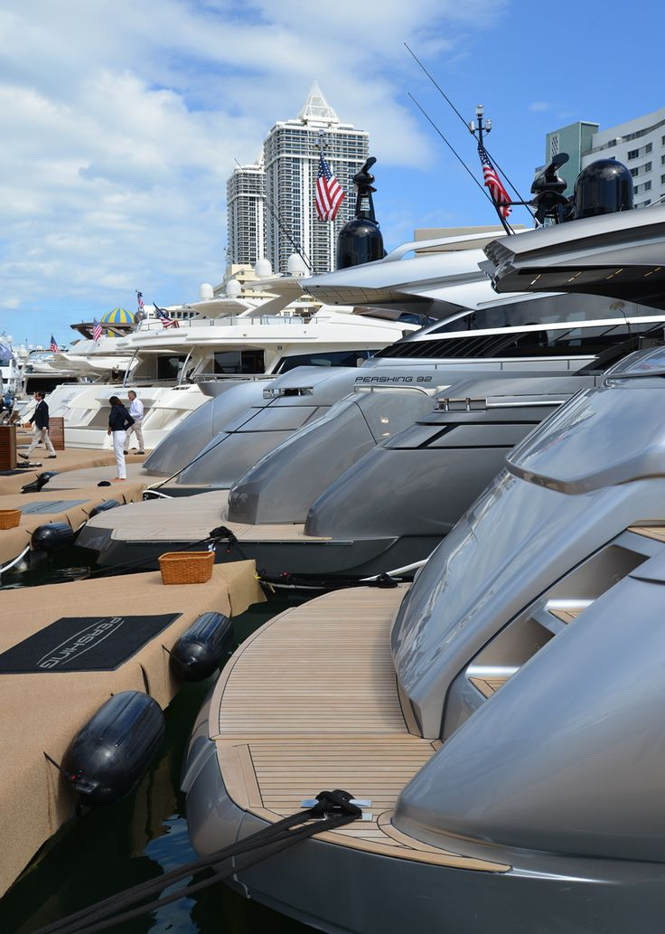 Pershing #Yacht on display at the #MiamiBoatShow 2015, 12-16 Feb 2015. #luxury #yacht #MadeInItaly #Mybs2015