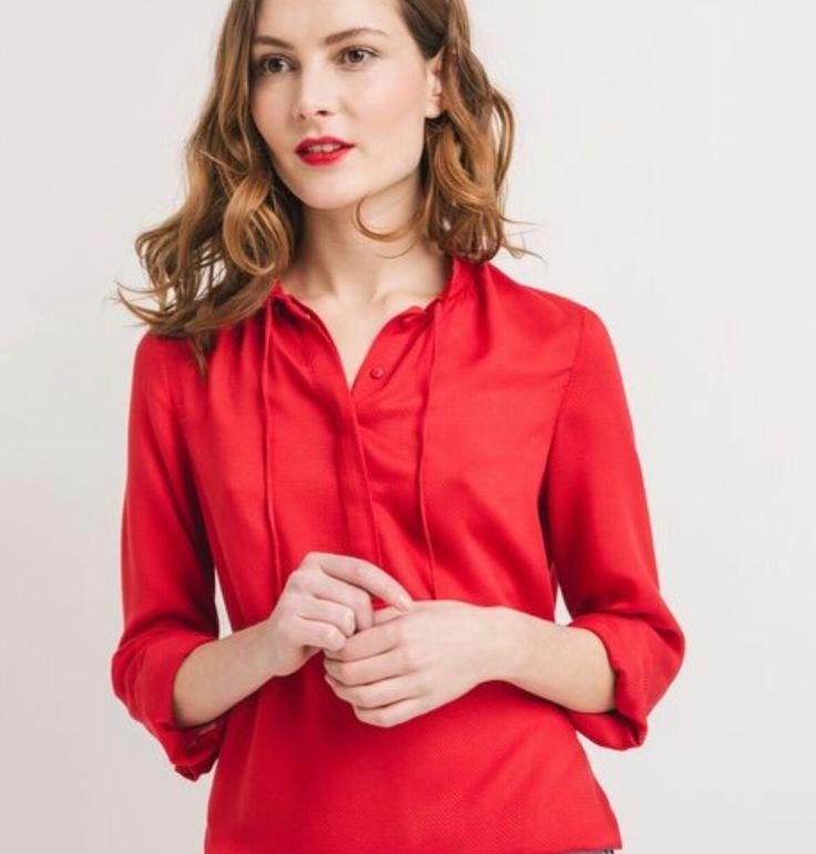 Blusa vermelha para conjugar com riscas Promod SS17