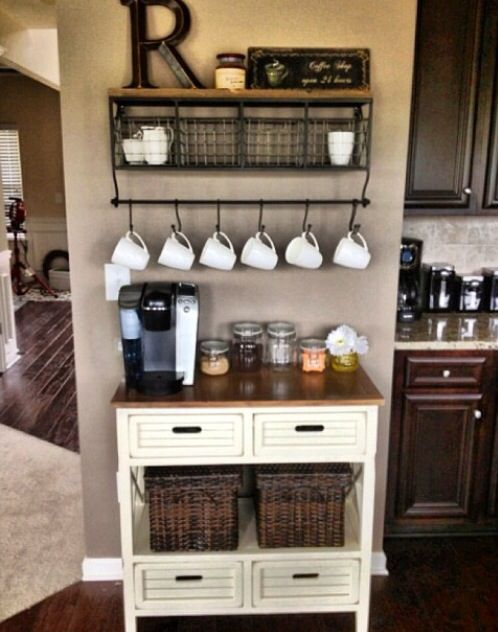 30 best images about coffee station ideas on pinterest for Countertop coffee bar ideas