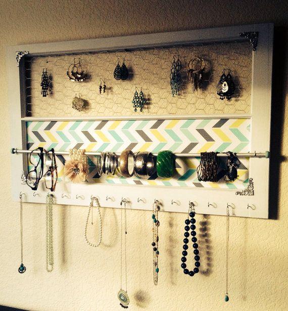 32 x 19 Jewelry Organizer in Multi-Colored Chevron with Silver Colored Hardware