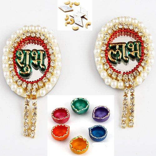 Pearl Shubh Labh with Diyas and Kaju Katli - Online Shopping for Diwali Pooja Accessories by Ghasitaram Gifts