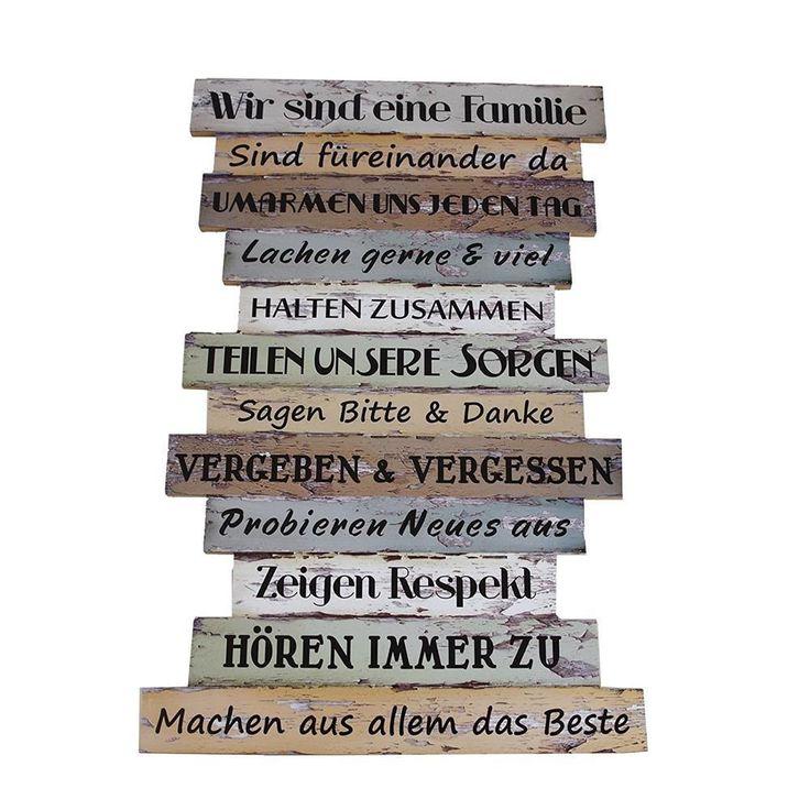 PLANKENSCHILD WANDDEKO Deko-Schild Familienregeln MDF 51×33 Shabby Wooden Sign – E …   – Kommunikation