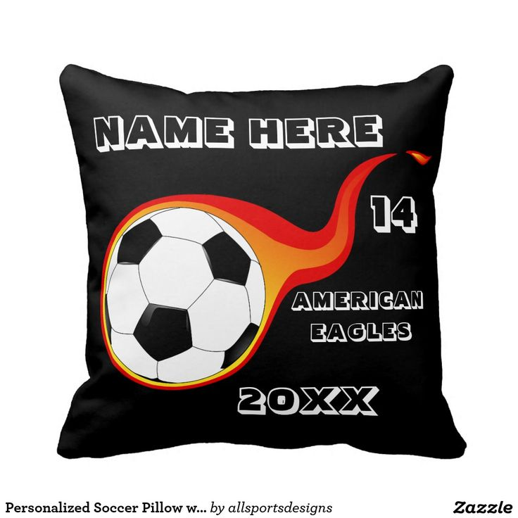 Personalized Soccer Pillow with Player's Name  Personalized Soccer pillow with Name of player`s,Name of team,Number of jersey and the Year on it. Background color can be change to team color this soccer cushion is great for a gift.Delete any or all text. IMPORTANT Personalize each soccer pillow, ONE at a Time, ADD that keychain to CART.