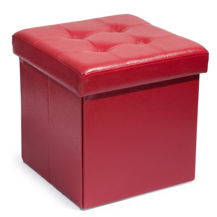 Pouf bauletto rosso pieghevole imbottito in poliuretano