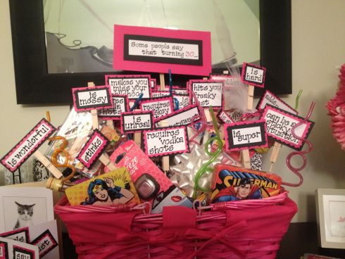 """DIY 30th Birthday gift basket.... """"people say that turning 30…"""" It can be easily changed for 40 or 50 or any other milestone! Click link for the sayings."""