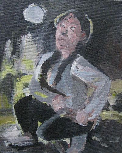 Steve Lopes: 'Bei Gao Girl', 2011 - 2012, oil on canvas on board, 19 x 16 cm