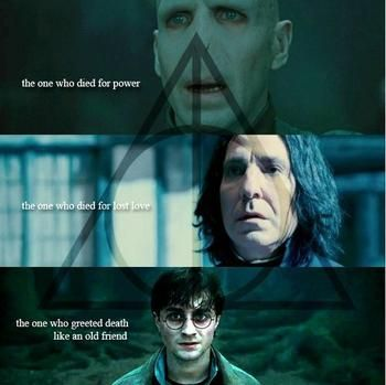 Hallows. I would argue that Dumbledore belongs in Snape's place. He put the resurrection stone on to see his sister, Ariana again. But... I just love Snape so much, I'll let it slide.