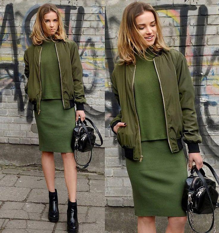 цвет хаки куртка бомбер женская милитари образ