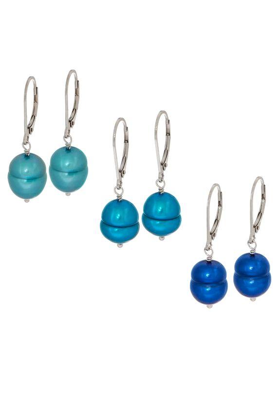 673bd5c04 Honora Set of Three Cultured Pearl Tonal Earrings, Sterling Silver  #PearlEarrings #JewlerySet #Pearlcolors