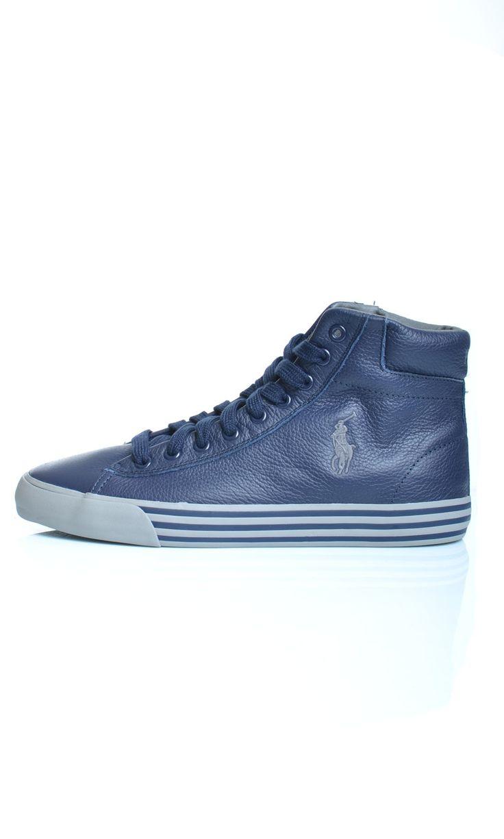 Scarpe Polo Ralph Lauren HARVEY MID In Pelle Sneakers Alte - blu - Newport  Navy -