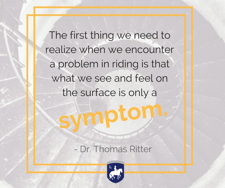 """The first thing we need to realize when we encounter a problem in riding is that what we see and feel on the surface is only a symptom."" - Thomas Ritter artisticdressage.com"