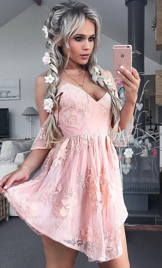 def573ca5f0 cute pink lace short prom party dresses, street style summer outfits  ,simple spaghetti straps a line homecoming dress