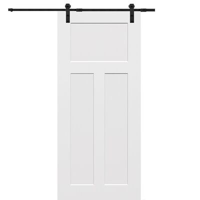 Verona Home Design Paneled Manufactured Wood Primed Hinge Barn Door With Installation Hardware Kit Sliding Door Hardware Interior Barn Doors Double Sliding Barn Doors