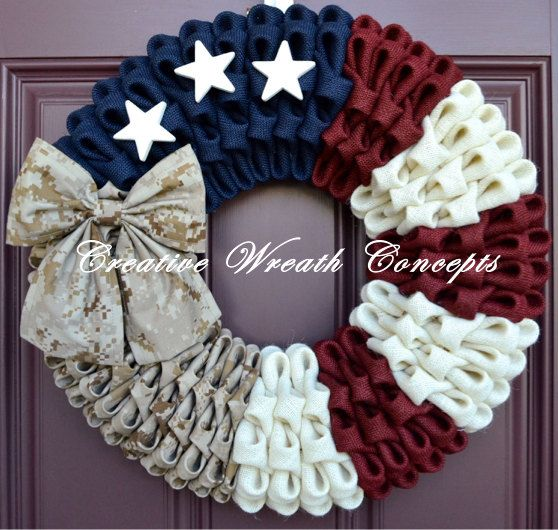 Military Wreath with Camouflage Bow by CreativWreathConcept
