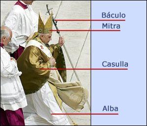 Con el Papa. Las vestiduras del Papa: la mitra, la tiara, el palio, el anillo, el báculo