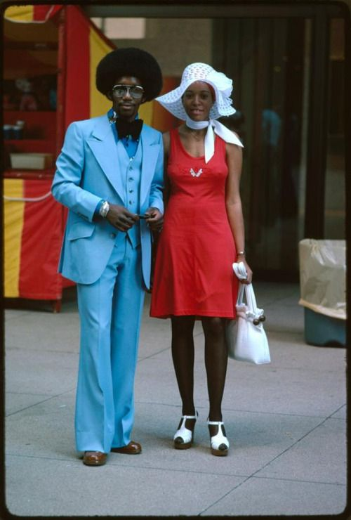 Blue and red. Street fashion, Chicago, 1975.