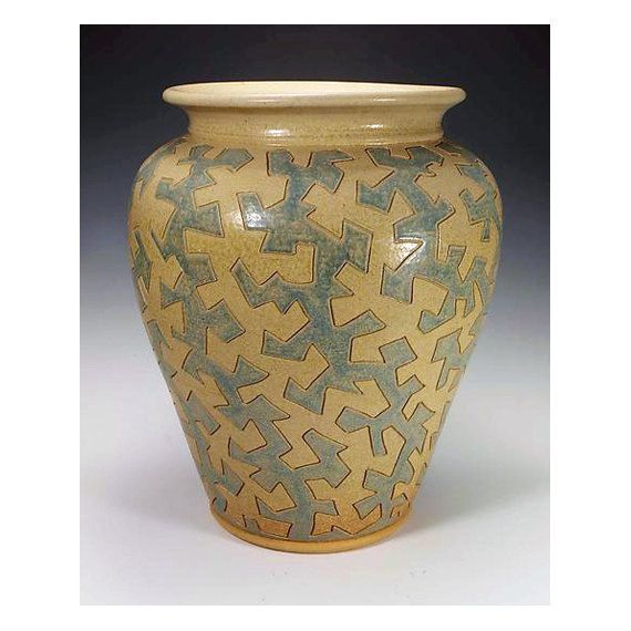 Large blue and yellow ash glazed puzzle vessel. by TimcoArtPottery