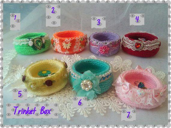 Crochet Trinket Box-Jewellery Box-Gift by Ladydarinefinecrafts