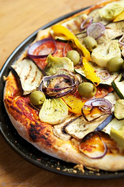 Artichokes, red onion, eggplant, peppers, and olives.  Yum, just yum!