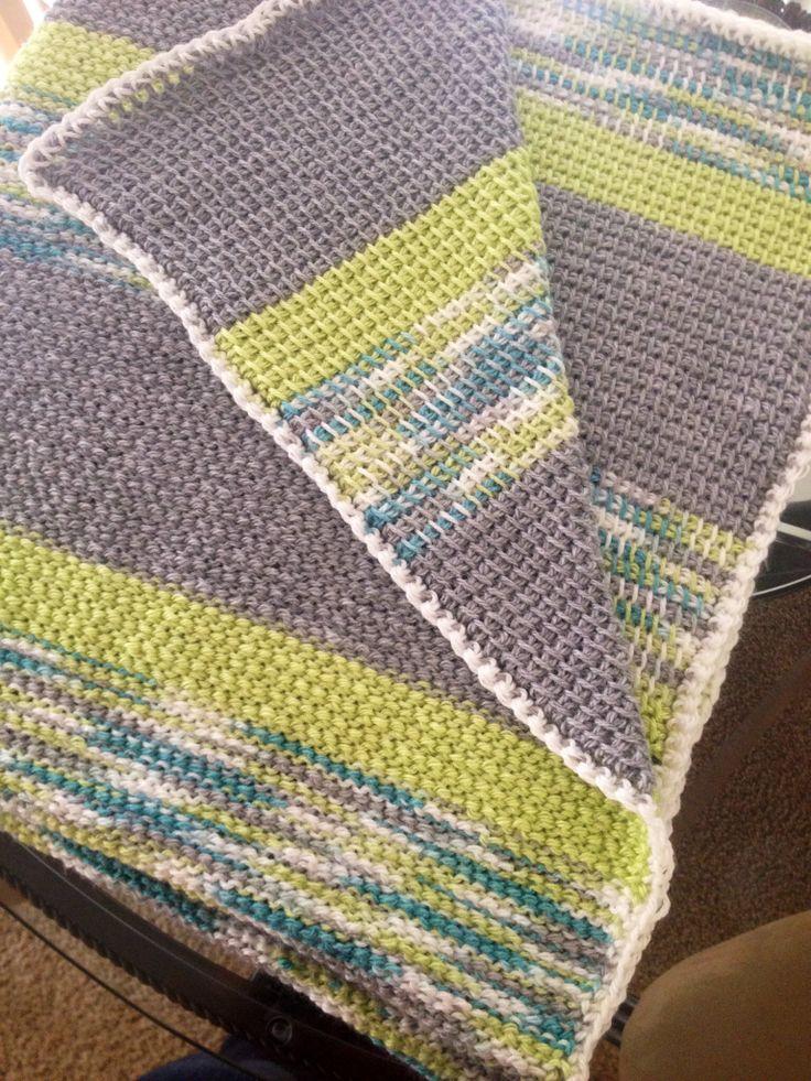 Easy Tunisian Crochet Baby Blanket Pattern : Tunisian crochet blanket Crochet too... Pinterest ...