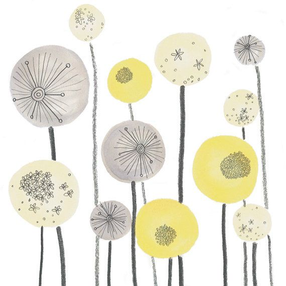 ***As Seen in Ideal Home Magazine July 2014!***    Yellow and Grey Seed Spheres graphic floral art print. Directly reproduced from my original