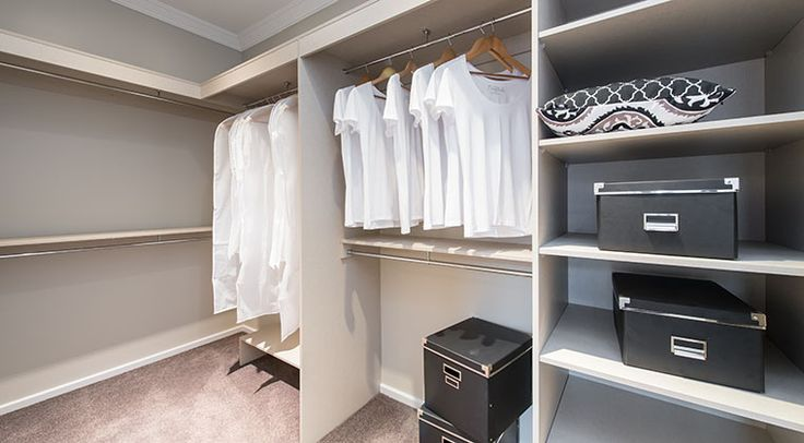The master walk in robe is sure to keep you organised, with ample storage space. #walkinrobe #bedroom