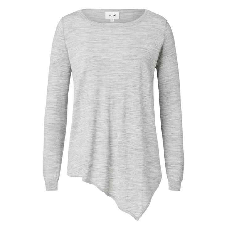 100% Merino Wool Asymmetrical Sweater. Comfortable fitting silhouette features a scoop neck, long sleeves with rib cuffs and asymmetrical hem in an all over wool fabrication. Available in various colours as shown.