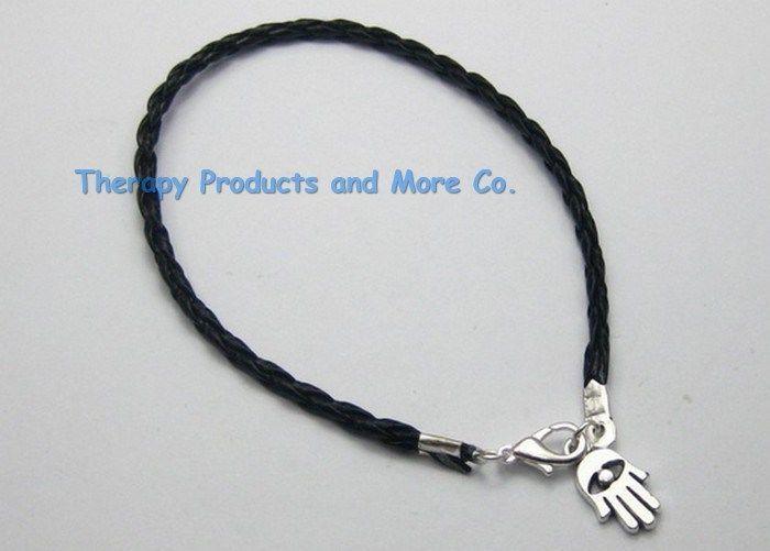Evil Eye Kabbalah Fatima Hamsa Hand Charm Black Braided Leather Lucky Bracelet